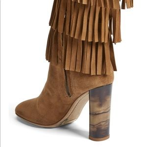 New Burberry 'Jazmine' Fringe Suede Boots $1495